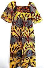 African Wax Size XL Ankara Dress Women Detail Square Neckline Long Maxi Dress #1