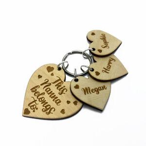 Personalised Wooden Heart Keyring This Nanna belongs to Engraved Nanny Gift Idea