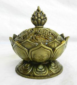 Lotus Design Brass Incense Burner and Pack of Charcoal Blocks - BNIB