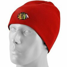 Reebok Chicago Blackhawks Red Knit Beanie Logo Cap NHL Face Off Collection