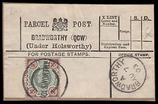 SG235/ 236 4d. DLR Parcel Post label, Bradworthy (QCW) (Under Holsworthy). E1183