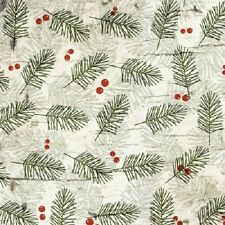 MOOSE LODGE GREEN PINE SPRIGS & BERRIES FABRIC NO. 28