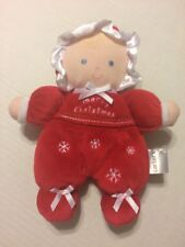 Carter's Blonde Blue Eyed MERRY CHRISTMAS Doll Lovey Rattle Plush Toy