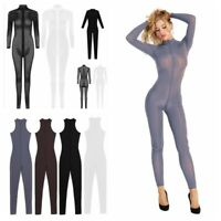 Women Yoga Playsuit Lingerie Jumpsuit One Piece Bodysuit See Through Sexy Pants