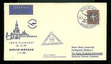 1960 East German Zone Berlin To Moscow 1St Flight Airmail Cover-F-Vf