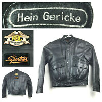 Hein Gericke Mens (40 in Chest) Black Leather Removable Liner Motorcycle Jacket