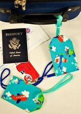 """hand crafted fabric luggage tags set of 2 secure info 3.5"""" X 5.5"""" blue skies!"""