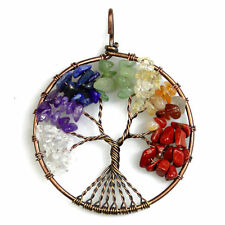 Natural Multicolor Chip Beads Tree of Life Copper Round Pendant Fit Necklace DIY
