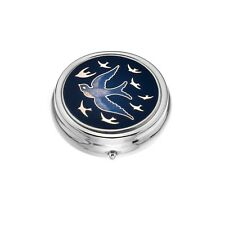 Large Pill Box Silver Plated Swallow Swallows in Flight Purple Brand New & Boxed