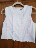 MARGARIN FINGERS BLOUSE DESIGNER PINK CROPPED PINSTRIPE SIZE SMALL