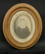 c1860 Framed Salt Print Portrait of Woman Charles W Grey NY Photographer