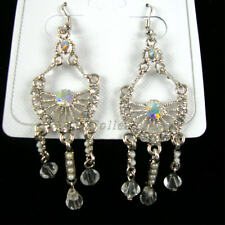 "Clear & Ab Crystal Stones 2.5"" Silver Dangle Earrings W/"