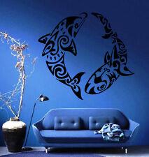 Dolphin and Shark Ornament Nautical Beach House Decor Wall Vinyl Sticker M213