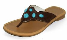 SANDALES TONGS 33 fille cuir marron turquoise MOD8 MOD 8 NEUF
