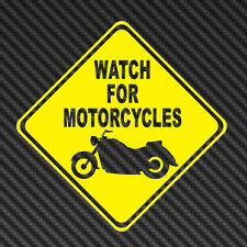 WATCH FOR MOTORCYCLES honda Car Decals Stickers Safety motor bike sport harley