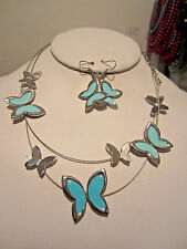Two Layers Blue Epoxy Coating On Silver Tone Butterfly Necklace Earring Set