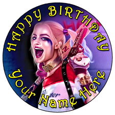 """SUICIDE SQUAD HARLEY QUINN - 7.5"""" PERSONALISED ROUND EDIBLE ICING CAKE TOPPER 5"""
