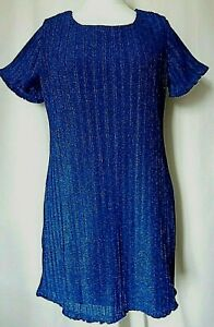 Yumi Woman's Electric Blue Sparkly short sleeved lined shift dress - size 12 uk