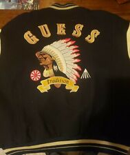 Guess Leather Indian Chief Head Varsity Jacket Native American Quilted