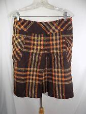 "RENFREW  women's Brown Orange Tan Stripe Wool Skirt Sz 6 USA Waist 30"""