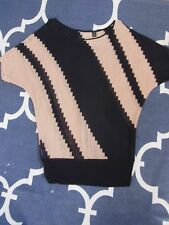 Ladies Beige & Black Country Road Office Work Business Top Shirt Size XS