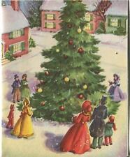 VINTAGE CHRISTMAS VILLAGE EVERGREEN TREE VICTORIAN CAROLER SNOWING GREETING CARD