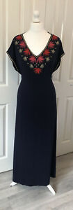 Ladies New Boden Embroidered Maxi Dress Size 18 Navy Summer Holiday