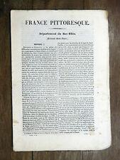 HUGO France Pittoresque BAS-RHIN 1835 Avec carte & 5 gravures ALSACE