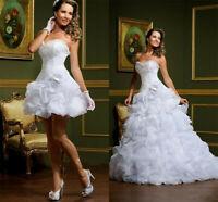 White/Ivory Beach Boho Wedding Dress Bridal Gowns Removable Skirt Arabic Short
