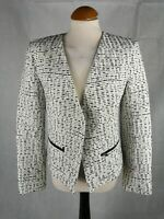 Ladies Jacket Size 12 TOPSHOP Ivory Black Tweed Boucle Smart Casual Country Day