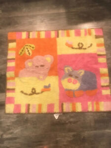 """Cocalo Tropical Punch Nursery Rug Baby Girl Room  30""""x25"""" Pink Cotton NWT"""