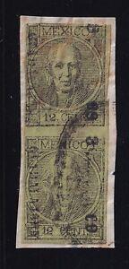 ubn83 Mexico 1868 Guadalajara thin imperforate 3-69 Sc#47 + 47a Mc#44 error