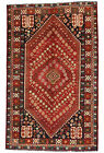 Vintage Tribal Oriental Qashqai Rug, 5'x8', Red, Hand-Knotted Wool Pile