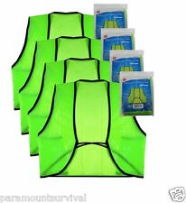 4 - Lime Green Disposable Safety Vest Hunter Runner Emergency Car Kit Survival