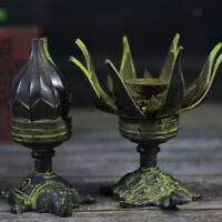 Candle Stand Lotus Flower Vintage Brass Candlestick On Tortoise Turtle Stand