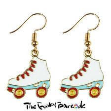 TFB - WHITE ROLLER SKATE DANGLE EARRINGS Sport Hobby Fun Funky Quirky Novelty