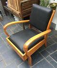 rare ancien meuble metier vintage fauteuil scandinave hetre skai noir deco loft
