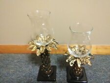 Set Of Home Interiors Gold Black Palm Tree Votive Candle Holders