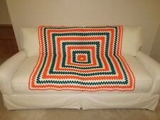 "Handmade Knit/ Crochet Afghan Throw Blanket 48"" x 48"" Square Orange White Green"