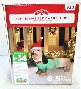 Airblown Yard Inflatable Christmas Elf Dachshund Weiner Dog 6.5' Wide, 4' High