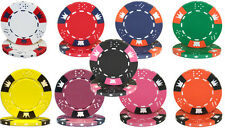 NEW 100 Crown & Dice 14 Gram Clay Poker Chips Bulk Lot Pick Your Colors