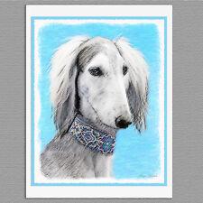 6 Saluki Dog Silver Blank Art Note Greeting Cards