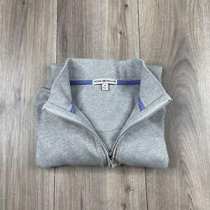 Peter Millar Cotton Blend 1/4 Zip Sweater Men's Size M Medium Grey