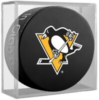 Pittsburgh Penguins NHL Team Logo Basic Souvenir Hockey Puck in Display Cube
