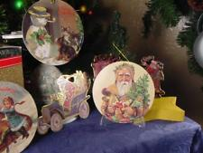Lot of 5 VICTORIAN era style CHRISTMAS TREE ORNAMENTS litho die cut SANTA Cats +