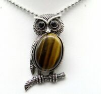 Natural tiger eye  Gem beads animal Owl Retro Silver Pendant necklace Jewelry P1