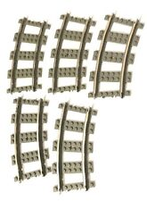 Lego LOT 9V Curved Tracks Set of 5 Replacement Gray Metal