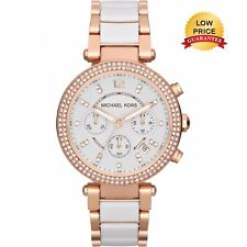 NEW GENUINE MICHAEL KORS MK5774 WHITE ROSE GOLD CHRONOGRAPH PARKER WOMEN'S WATCH
