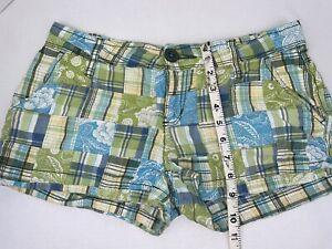 Aeropostale Quilt Blocked Junior's Shorts Sz 5/6 100% Cotton Green/Blue/Yellow.