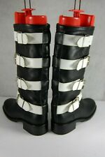 FREELANCE BUCKLED BLACK WHITE LEATHER BIKER RIDING WOMEN BOOTS EU 39 US 9